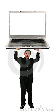 Holding Up Laptop With Blank