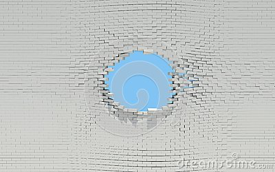 Hole in a brick wall