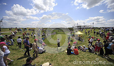 Hole 1 at The French golf Open 2013 Editorial Stock Image