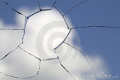 Hole glass broken cloud sky