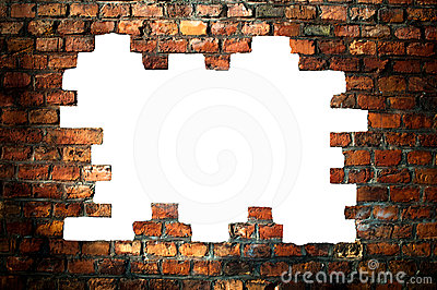 Hole in an old brick wall - with clipping path