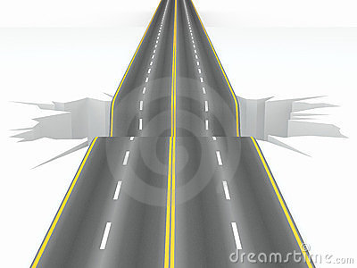 Hole on the road. Concept image