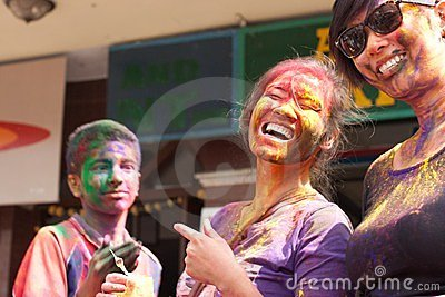 Holi Festival (Festival of Colors) in Nepal Editorial Stock Photo
