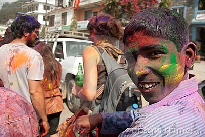 Holi Festival (Festival of Colors) in Nepal Editorial Stock Image
