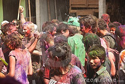 Holi Festival (Festival of Colors) in Nepal Editorial Photo