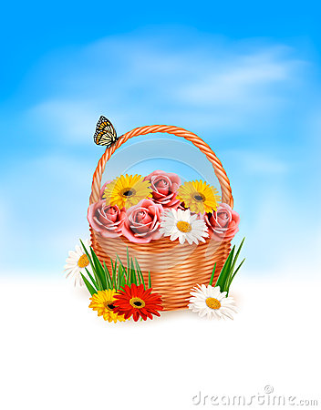 Holiday background. Basket full of flowers with a