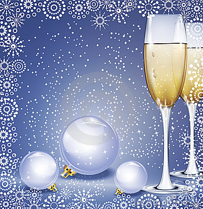 Holiday background with New Year s balls