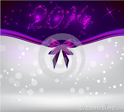 Holiday background with purple bow ribbon