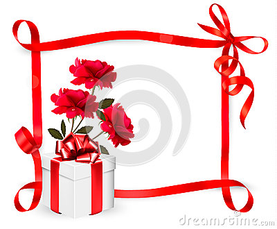 Holiday background with three roses and gift box a