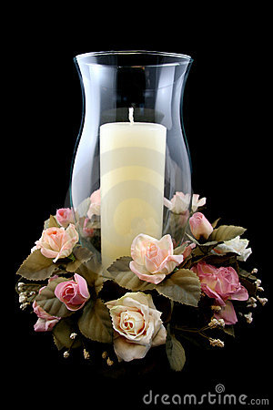 Holiday Candle and Flower Centerpiece