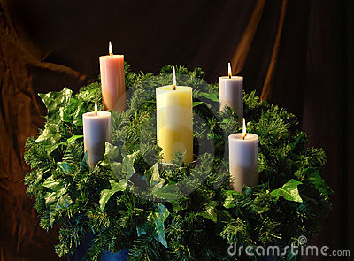 Holiday Candles and wreath
