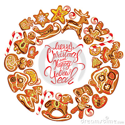 Free Holiday Card. Round Frame With Xmas Gingerbread On Whit Royalty Free Stock Photos - 61008658