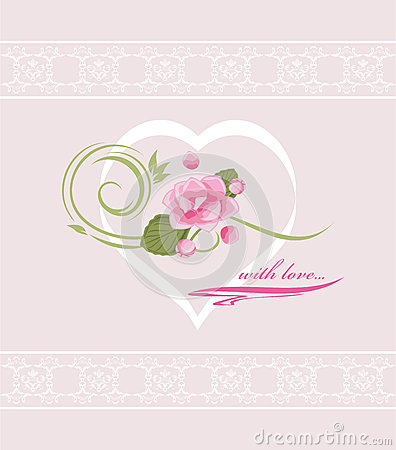 Holiday card to the Valentines day with pink flowe