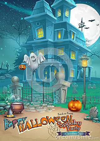 Free Holiday Card With A Mysterious Halloween Haunted House, Scary Pumpkins, Magic Hat And Cheerful Ghost Stock Image - 44932681