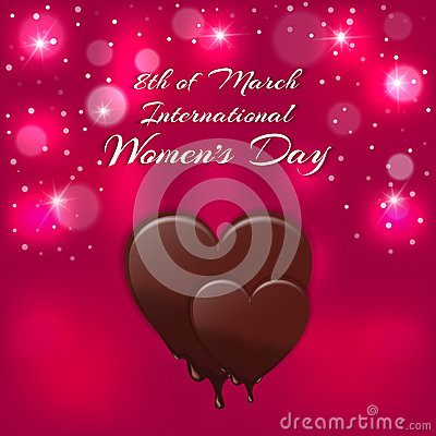 Free Holiday Card With A Red Heart And Melting Chocolate Inscription International Women`s Day On 8 March. Stock Photos - 85073973
