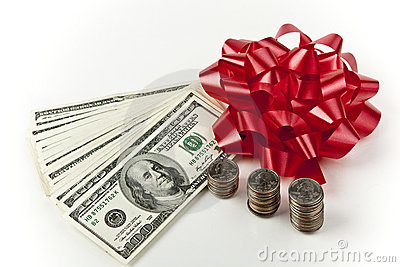 Holiday cash red bow US currency