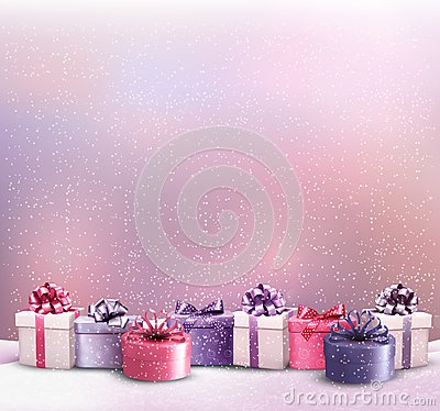 Free Holiday Christmas Background With A Border Of Gift Boxes. Stock Image - 46488701