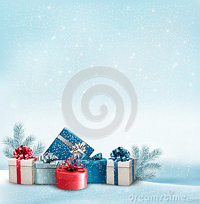 Free Holiday Christmas Background With A Border Of Gift Boxes. Royalty Free Stock Image - 47008956