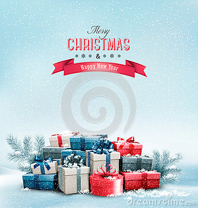 Free Holiday Christmas Background With Gift Boxes. Royalty Free Stock Image - 47222546