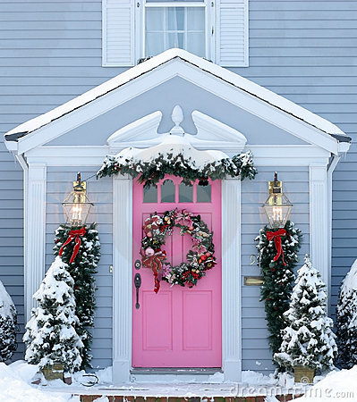 Holiday decorated entrance