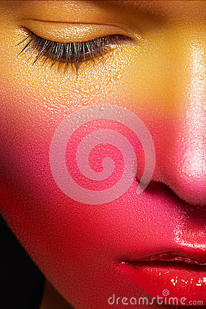Holiday face-art. Carnival juicy strawberry makeup