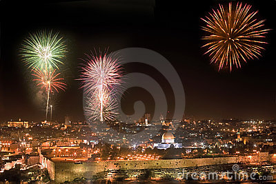 Holiday firework in Jerusalem.
