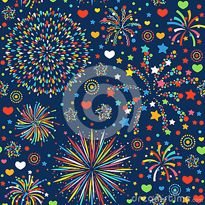 Free Holiday Fireworks Seamless Pattern Abstract Design Background Celebration Decoration Bright Texture Vector Illustration Stock Image - 93287481