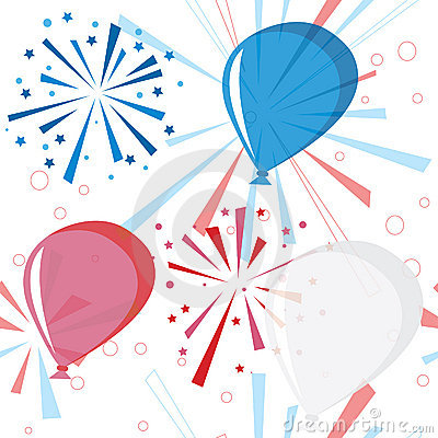 Holiday fireworks seamless pattern with balloons