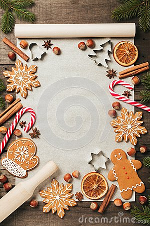 Free Holiday Food Background For Baking Gingerbread Cookies. Vintage Paper Sheet For Christmas Recipe. Text Space, Top View. Stock Photo - 104509630