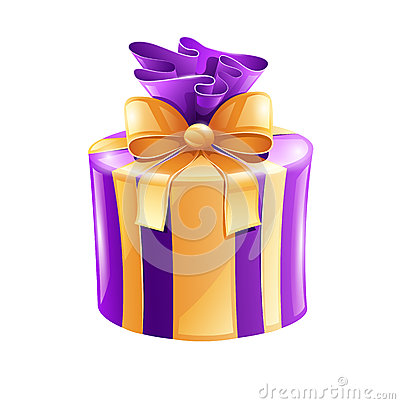 Holiday gift with gold ribbon