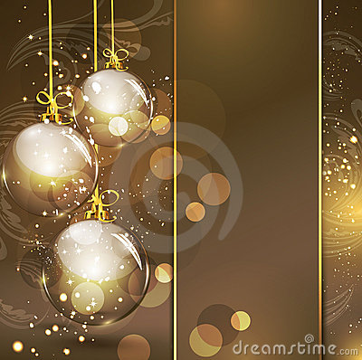 Holiday gold background with golden glass balls