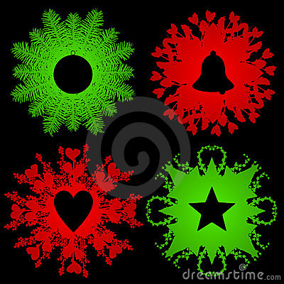 Holiday greenery with silhouettes
