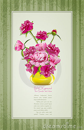 Holiday greetings with peonies and yellow vase
