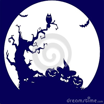 Free Holiday Halloween, Tree, Owl, Pumpkin, Blue Silhouette On Whit Stock Images - 100955874