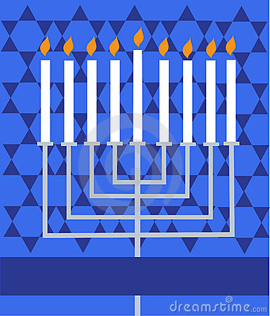 Holiday Hanukkah; lighted Menorah