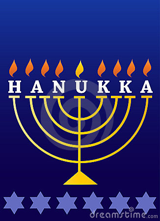 Holiday Hanukkah; lighted Menorah