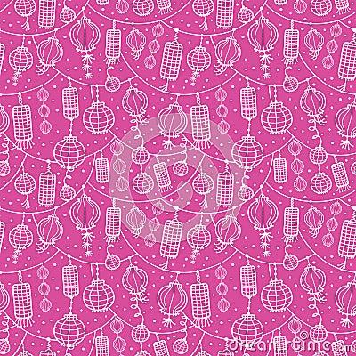 Holiday lanterns line art seamless pattern