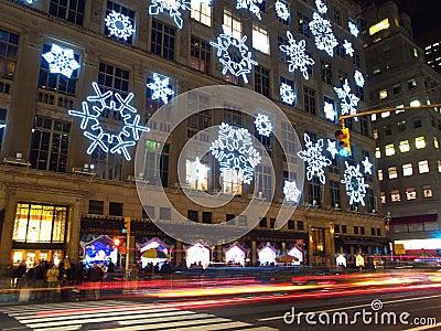 Holiday light display at Rockefeller Center Editorial Image