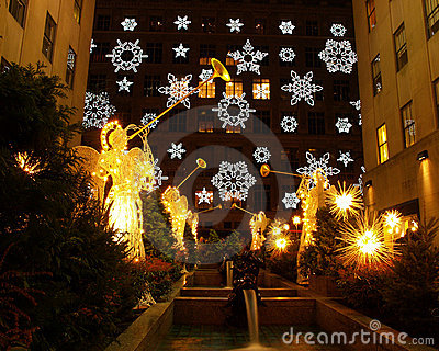 Holiday light display at Rockefeller Center Editorial Stock Image