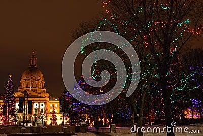 Holiday lights of legislature building