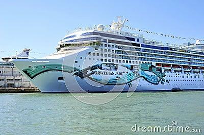 Holiday luxury ship Norwegian Jade in Venice Editorial Stock Image
