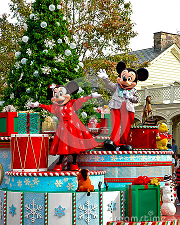 Holiday Mickey and Minnie Mouse on Parade. Editorial Stock Image