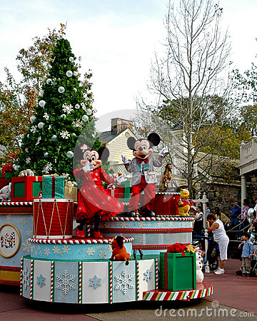 Holiday Mickey and Minnie Mouse on Parade.