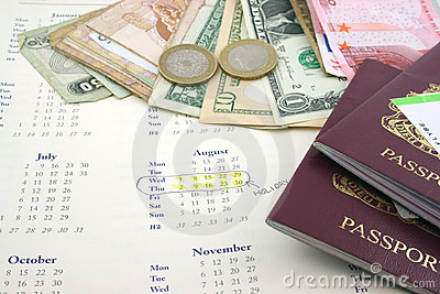 Holiday with Money and passports