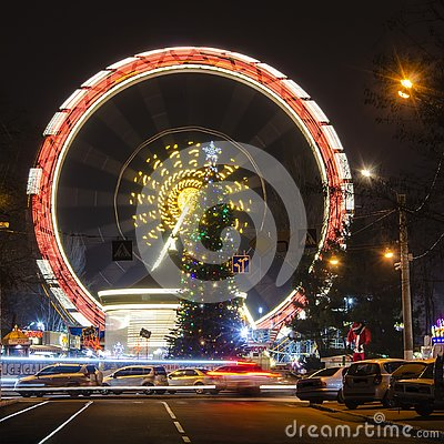 Free Holiday New Year, Colorful Lights On A Christmas TreeOdessa City, Ukraine. Stock Photography - 135175472