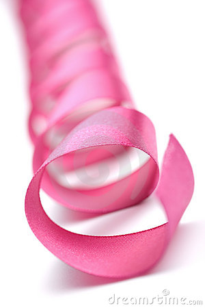 Holiday pink ribbon isolated