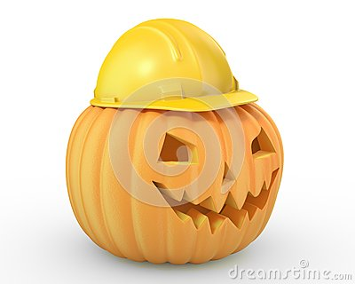 Holiday pumpkin jack lantern in a yellow helmet