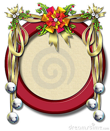 Holiday ribbon-bell frame