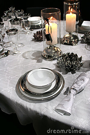 Holiday set in classic style and candles