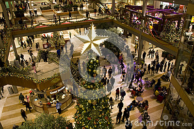 Holiday shopping mall Editorial Stock Image